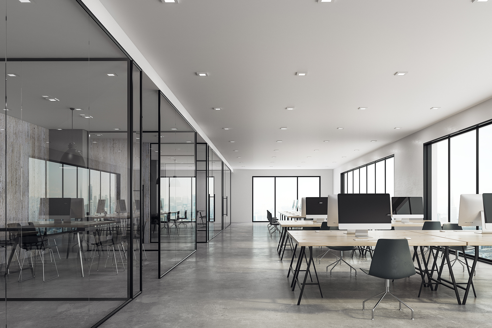 Bright coworking glass office interior. 3D Rendering