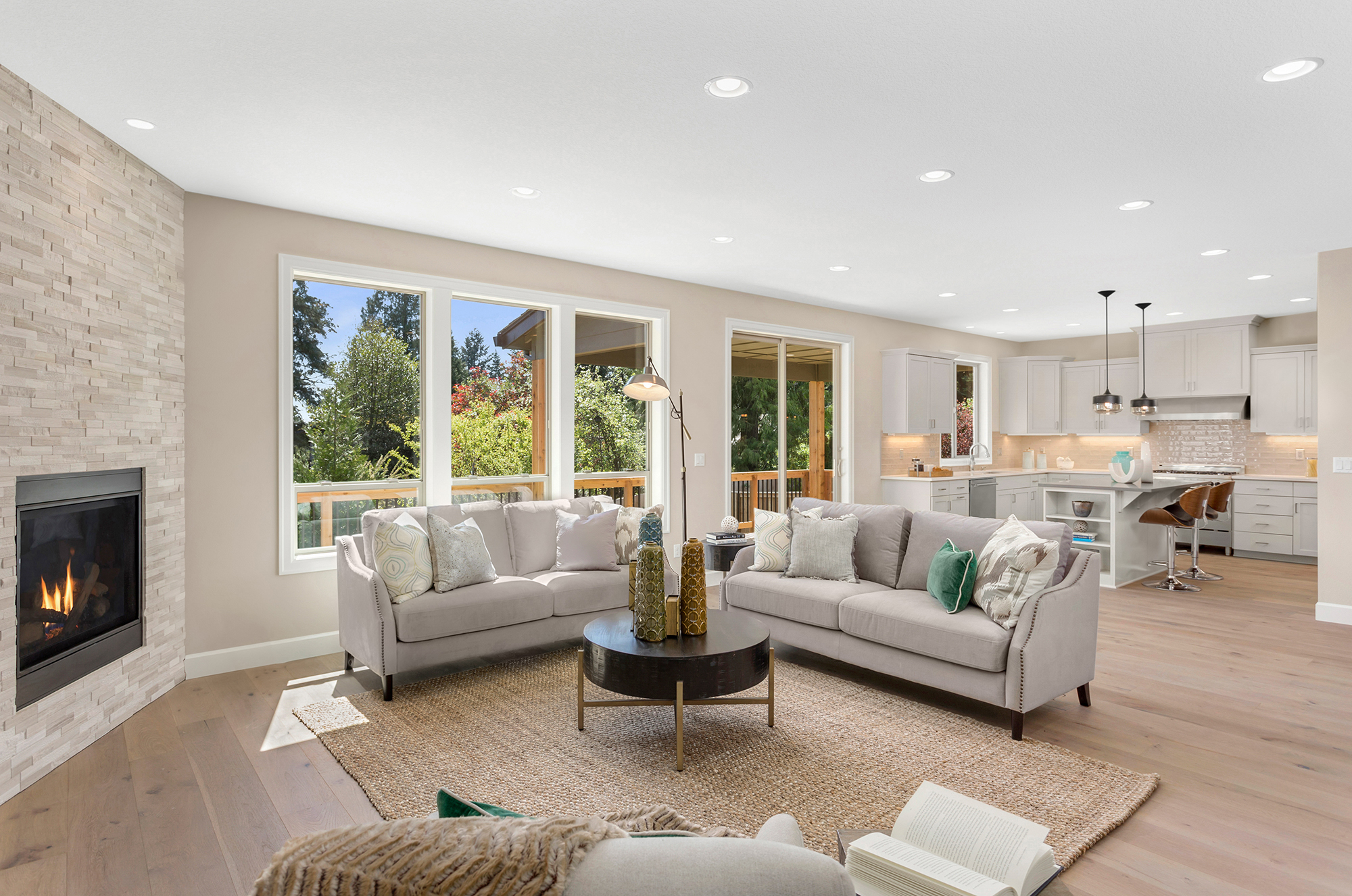 Beautiful living room in new home with open concept floor plan.